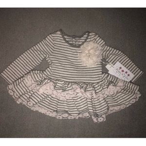 NWT Pippa & Julie 12mo Grey Ruffle Top